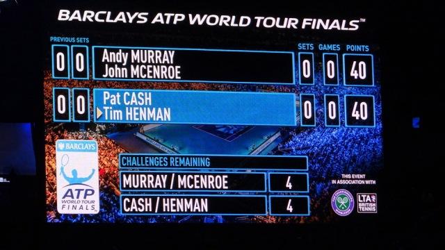 ATP World Tour Finals O2 Tennis 2014 Cash Murray Henman McEnroe