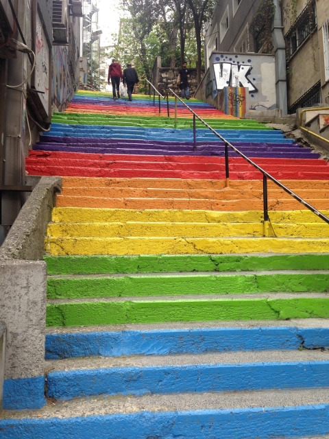 Istanbul, Turkey, Rainbow, Steps